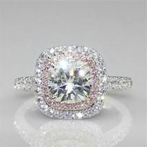 Certified 2.85Ct White Cushion Diamond Halo Engagement Ring in 14K White... - $264.58