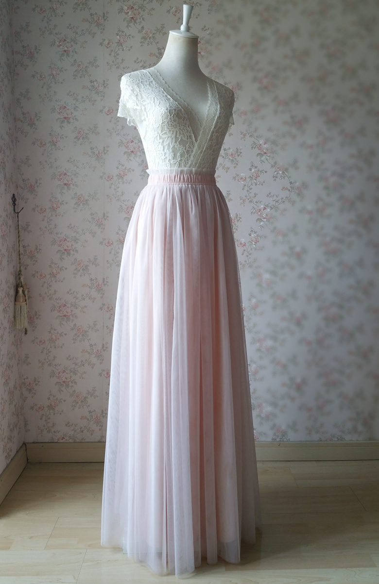 PALE PINK Floor Length Tulle Skirt Pale Pink Bridesmaid Skirts Wedding Outfits image 4