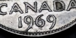 1969 Canada Nickel - 5 Cents Coin **DOUBLE DATE ERROR** Great Condition - $2.95