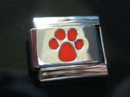 Dog Paw Italian Charm Red fits Classic 9mm bracelet Stainless Steel - $3.58