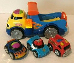 Fisher Price Lil Zoomers Rock N Roll Truck and 3 Rolling Vehicles Cars T... - $14.99