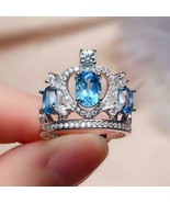 2.60Ct Oval Cut Blue Topaz Diamond Crown Engagement Ring 14K White Gold ... - $144.49