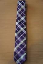 Alfani Men's Tie Purple Grey Plaid Grid Solid Reversible Classic Necktie - $19.71
