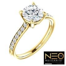 18K GOLD 1.60 carat (7mm) Round Diamond Cut Neo Moissanite Ring - $1,295.00
