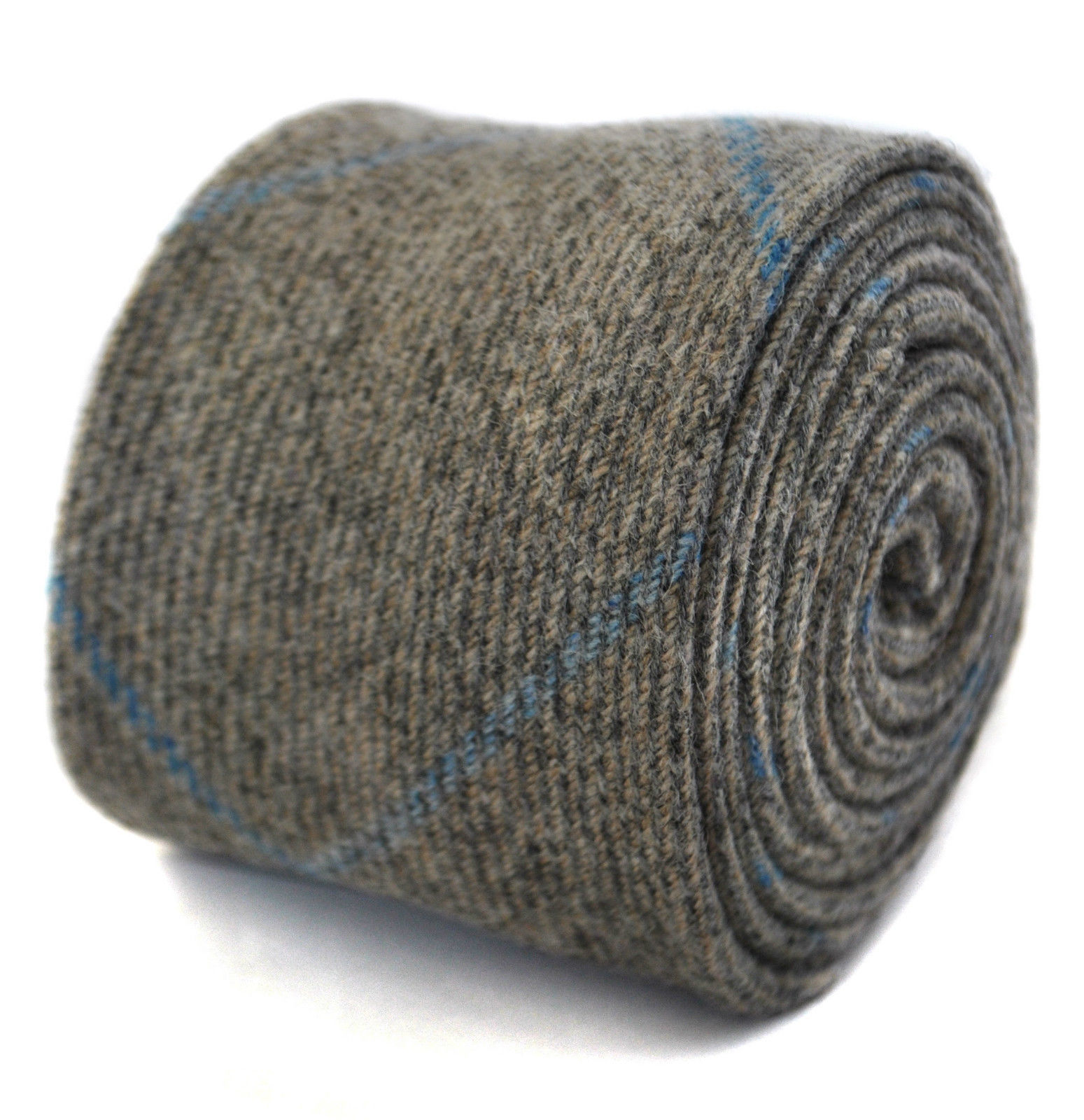 Henry Harris tweed tie in grey with light blue check HH105