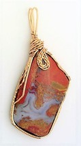 Maury Mountain Moss Agate Bronze Wire Wrap Pendant 34 - $27.98