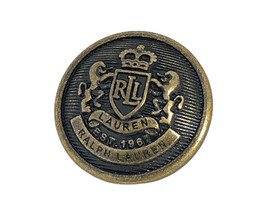 Ralph Lauren Coat of Arms Gold & Black tone metal Replacement Main butto... - $9.65