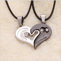 USA Heart Shape Couple I Love You Stainless Steel Pendant Leather Necklace - $9.89