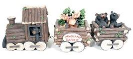 3 Piece Bear and Moose Train Set Decorative Tabletop Figurine