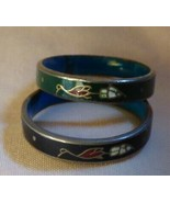 Pair Vintage 1960s Floral Enamels on Copper Band Rings Blue Green & Aqua... - $20.00