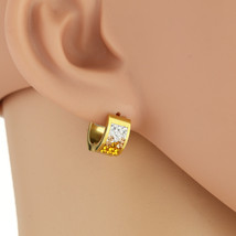 UNITED ELEGANCE Stylish Huggie Hoop Earrings With Gold Swarovski Style Crystals - $11.99