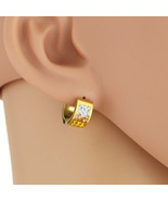 UNITED ELEGANCE Stylish Huggie Hoop Earrings With Gold Swarovski Style C... - $9.99