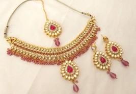 Indian Ethnic Gold Plated Kundan Fuchsia Fashion Bridal Jewelry Necklace Set - $15.99