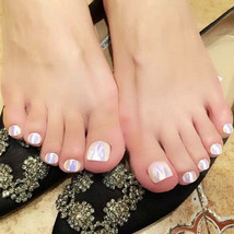 Pearl mirror full coverage 24 piece glue on toenails set in short length NEW - $11.99