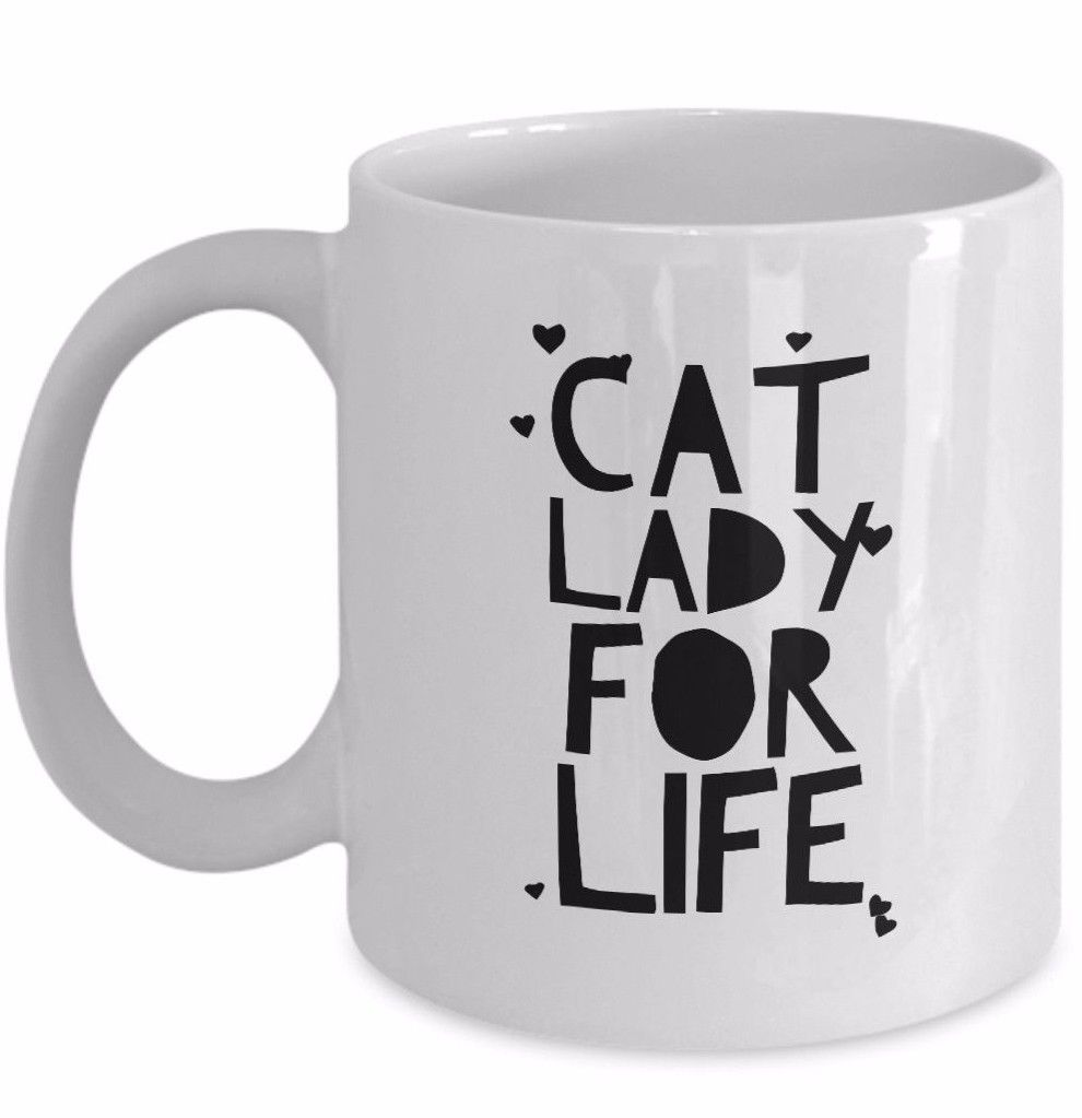 Primary image for Cat Lady For Life Mug Crazy Cat Lady Gift Mom Girlfriend Hearts Coffee Cup White