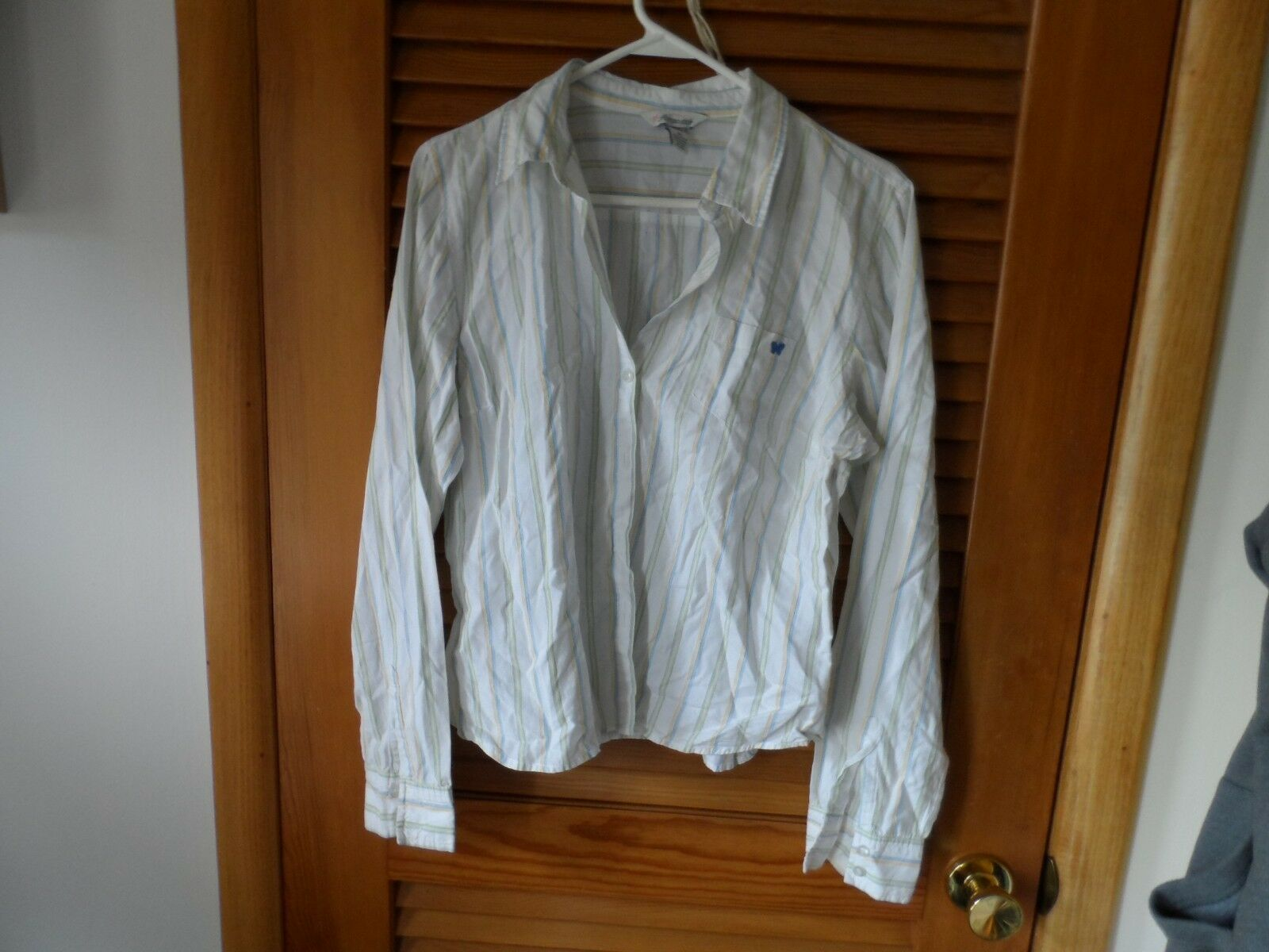 Primary image for Ladies size XL white w/ blue,yellow stripe button front shirt Aeropostale