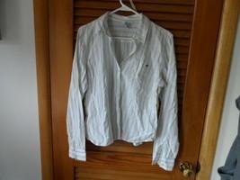 Ladies size XL white w/ blue,yellow stripe button front shirt Aeropostale - $12.00