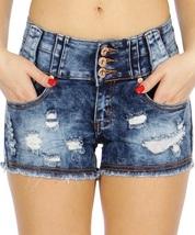 Womens Blue Acid Wash Distressed Ripped Denim Raw Hem Mini Jean Hot Shor... - $18.00