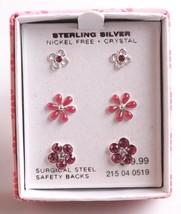 3 pairs Girls Sterling Silver 925 Pink Clear Crystal Flower Post Stud Earrings