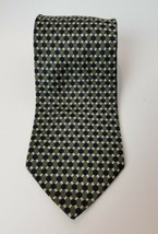 Claybrooke Mens Tie Pure Silk Geometric Pattern Green and Blue Made in USA - $10.94