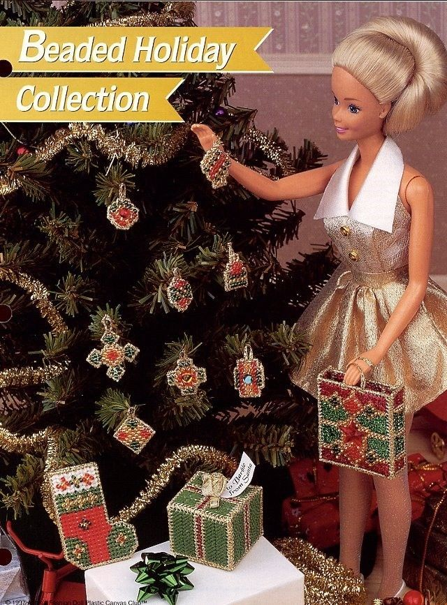 Christmas Beaded Holiday Collection fits Barbie Doll Plastic Canvas PATTERN
