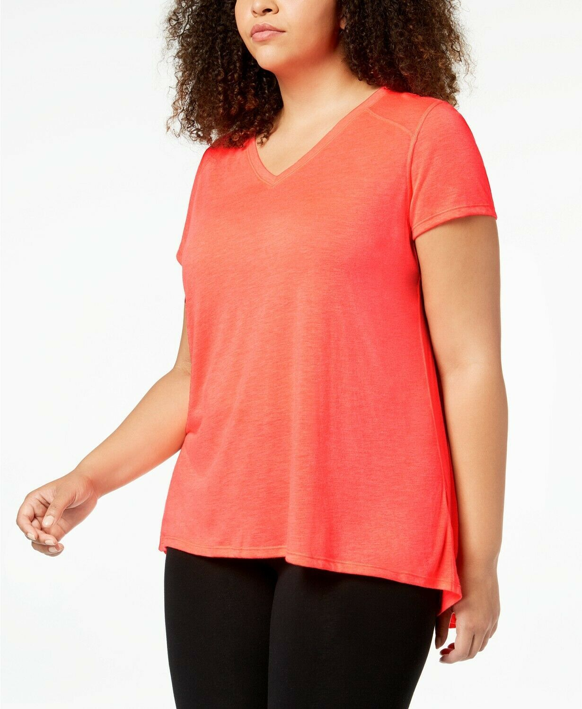 New Calvin Klein Plus Size Draped-Back Top Blood Orange Active Shirt 2X