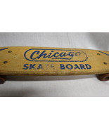Vintage Wooden Chicago Skateboard Long Board Blue Graphics Original Clay... - $148.45