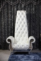VIG Divani Casa Luxe NeoClasiscal Pearl White Italian Leather Tall Chair