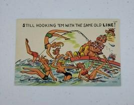 """Curt Teich Comic Risque Linen Postcard """"Still Hooking 'Em.."""" C-848 1956  - $11.00"""