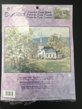 New Bucilla Counted Cross Stitch Kit #42761 Countryside White Church Embroidery - $19.95