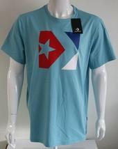Converse Chevron Logo Mens Graphic Tee Blue 100% Cotton Size M L XL T-Shirt - $25.49