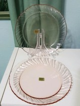 "Lot 2 Rosaline New Arcoroc France Pink Swirl 7-1/2"" luncheon glass Plates  - $18.67"