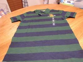 Boy's youth Tommy Hilfiger Polo shirt stripe M 12/14 NEW trim fit  green T881072 - $15.49