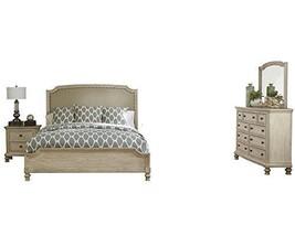 Ashley Demarlos 4PC Bedroom Set E King Upholstered - White - $2,430.19