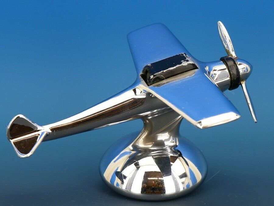 Art Deco Streamline Dollin Diecasters Co. Nickel Plated Airplane Lighter