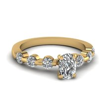 White Diamond Oval, Round Cut Solid 10k Yellow Gold Womens Anniversary Gift Ring - $349.99