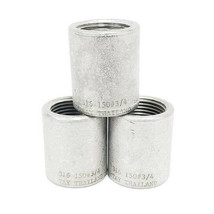 "LOT OF 3 NEW GENERIC 316-150#-3/4 COUPLINGS, 316 STAINLESS STEEL, 150#, 3/4"" image 1"