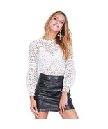 Embroidered Floral Lace Hollow Out Women Blouse Top - $29.98