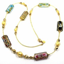 LONG NECKLACE MULTI COLOR MURANO GLASS RECTANGLE TUBE, SPHERE, GOLD LEAF, ITALY image 1