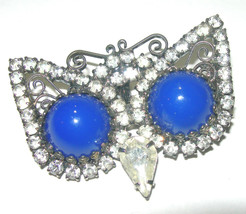 VINTAGE CLEAR RHINESTONE BUTTERFLY NECKLACE PENDANT WITH BLUE LUCITE WINGS - $45.00