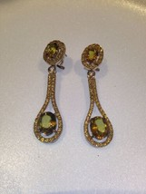 Genuine Lime Quartz 925 Sterling Silver Vintage Chandelier Earrings - $163.35
