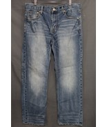 NEW Men's AE Slim Straight Jeans Faded Medium Blue Wash Distressed 36 x 30 - $19.94