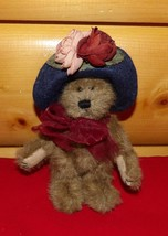 "Boyds Plush 7"" Bear in Navy Felt Hat Accented with Mauve & Burgundy Wine... - $5.29"