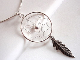 Dream Catcher w/ Sacred Feather Necklace 925 Sterling Silver Corona Sun Jewelry - $29.69