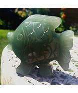 Green Aventurine Quartz Crystal Fish Carved Healing Stone Pocket Palm Gr... - $15.78