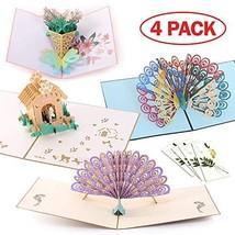 Handmade 3D Pop Up Cards - Peacocks Set - Handmade Pop Up Greeting Card for Your