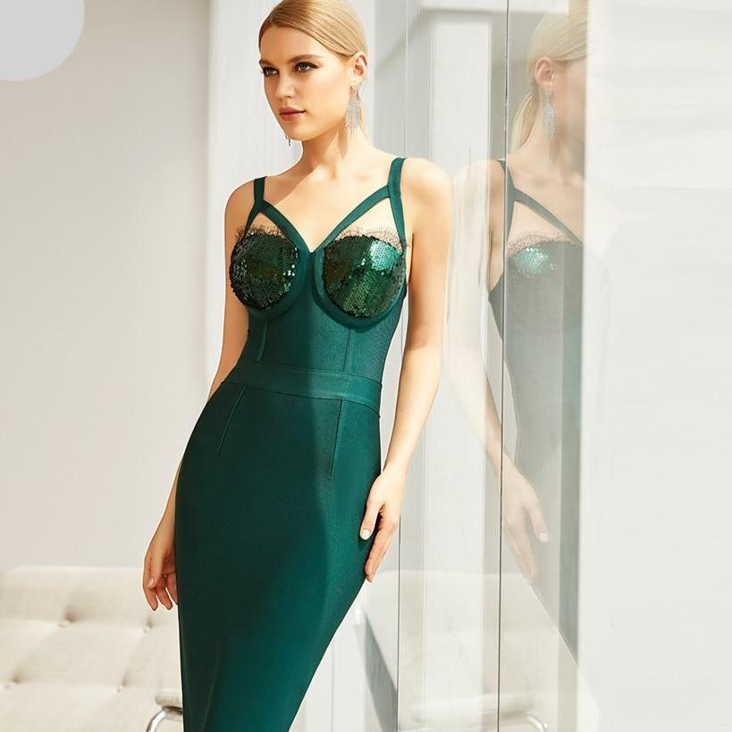 Ew winter spaghetti strap sleeveless bandage dress sexy sequins women midi club celebrity runway