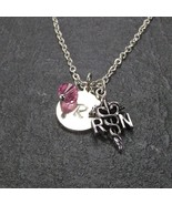 Customized RN Initial Necklace made with Swarovski Birthstone  Personali... - $19.99
