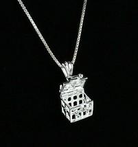 Vintage .925 Sterling Silver Signed CC Heart Cross Locket Pendant Neckla... - $16.27