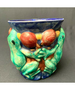 Contemporary Majolica Vase Frogs Fleur de Terre USA 1996 Flower of the ... - $33.86